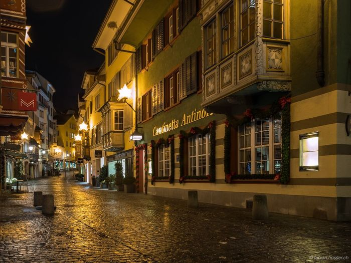 In the morning Nightphotography Switzerland Long Exposure Architecture Building Exterior Night Illuminated Built Structure Street Residential Building City Outdoors Water No People Sky
