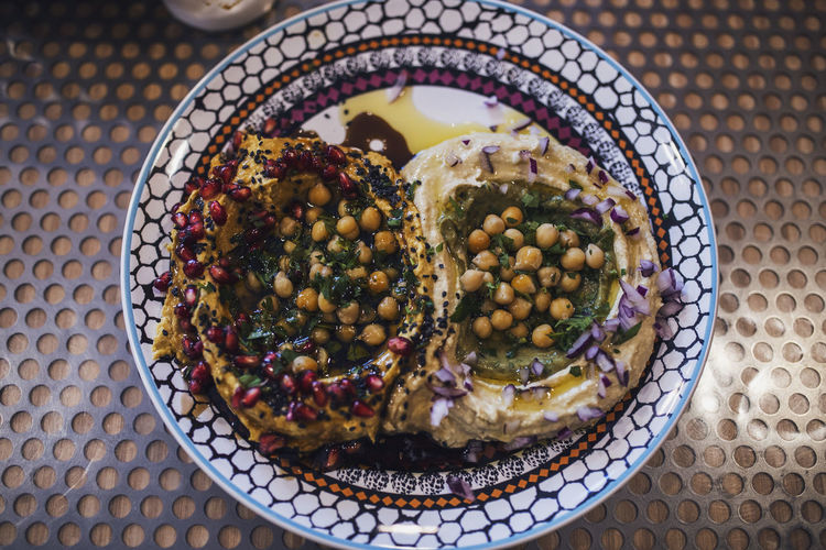 Directly above shot hummus served in plate