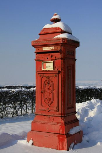 Snow Cold Temperature Winter No People White Color Po Boy Postal Service Red Old Postbox