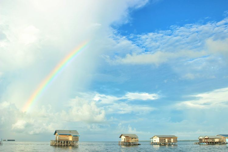 Panoramic view of rainbow over sea against sky