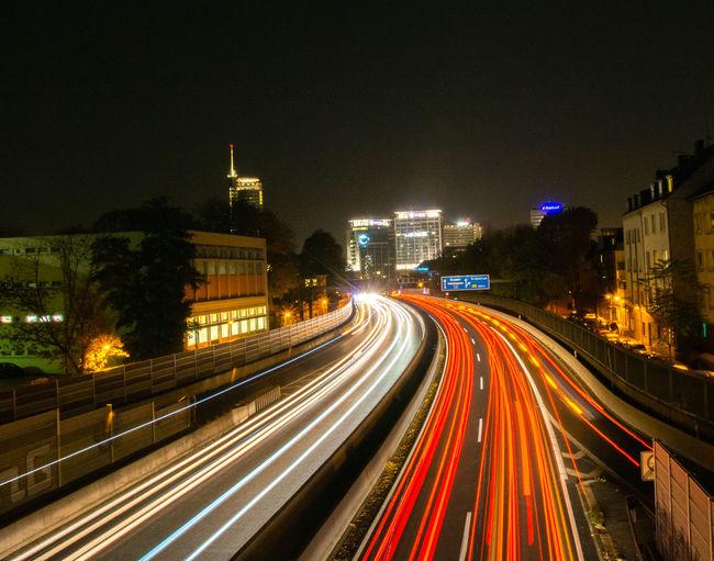 A40 Autobahn Essen Skyline Langzeitbelichtung✔ Highway Red And White Auto