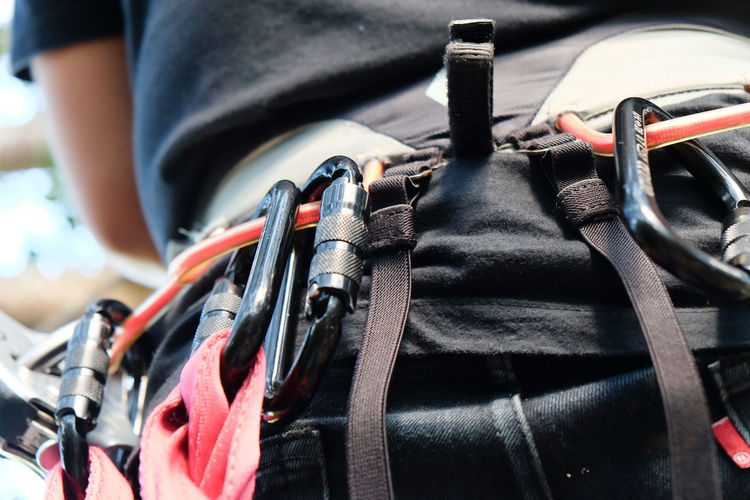 Midsection Of Person Wearing Climbing Equipment