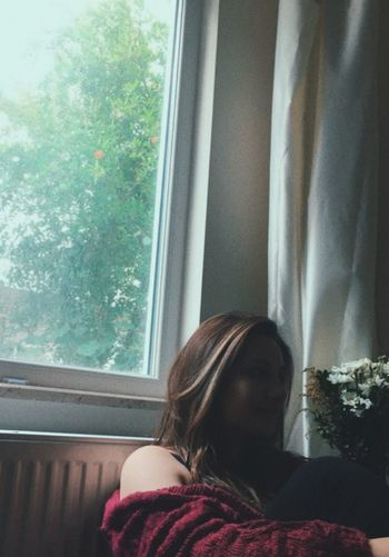 Child Women Young Women Looking Through Window Curtain Window Close-up