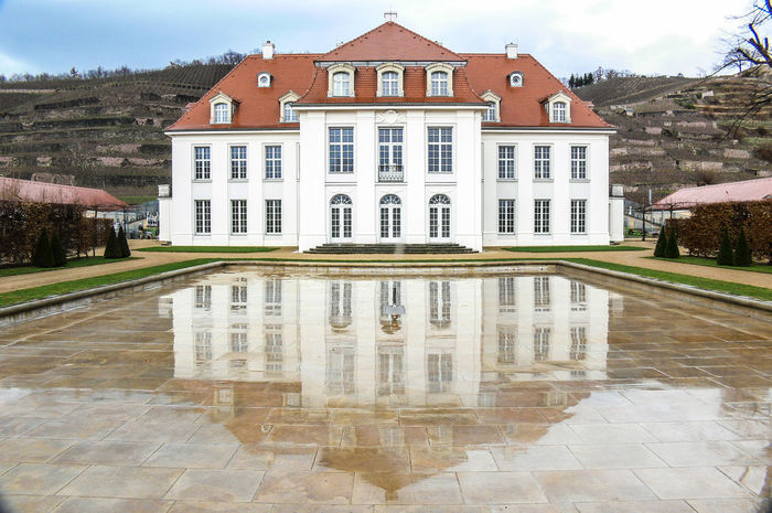 Wine Region Radebeul in Saxony on the Elbe River Castle Architecture Building Exterior Built Structure Day House Nature Outdoors Reflexions Residential Building Tree Water Winery