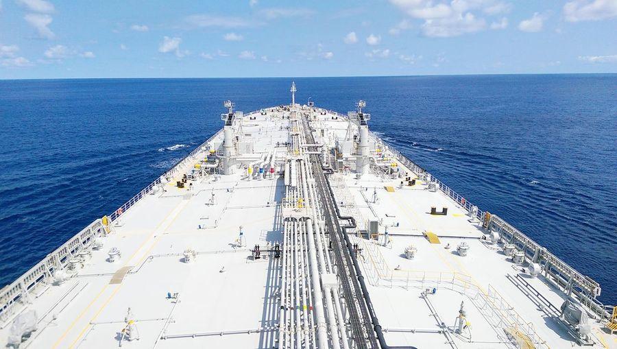 High angle view of ship sailing at sea