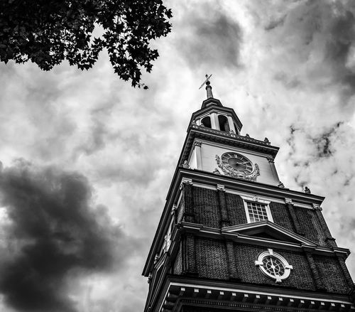 Liberty in the Maelstrom Architecture Capital Cities  City Cloud Cloud - Sky Cloudy Culture Day Independence Hall Low Angle View No People Outdoors Overcast Philadelphia Pennsylvania Sky Tall Tall - High Tourism Tower Travel Destinations Weather Original Experiences