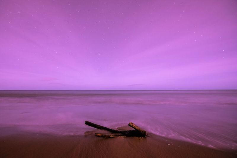 Millennial Pink Nightphotography Nikonphotography Tokina 11-16 Mm F/2,8 Nikon D750 Tranquility Night Tranquil Scene Beauty In Nature Betterlandscapes Space Astronomy Sea Water Sky Landscape Beach Cloud - Sky Nikon