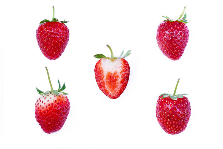 Red Fruit Healthy Eating Wellbeing White Background Strawberry Freshness Group Of Objects Ripe Juicy