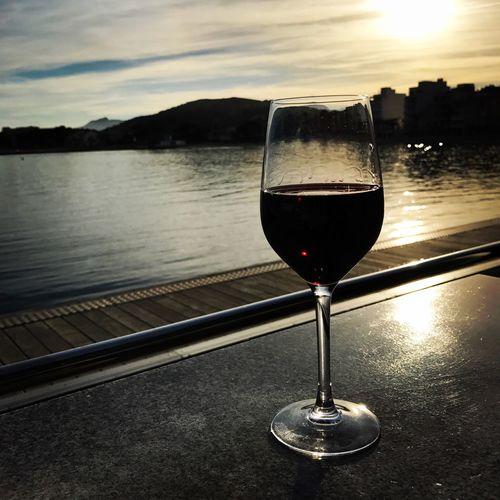 Vino tinto Mallorca Pollença (Mallorca) Wine Wineglass Alcohol Red Wine Drink Sunset EyeEmNewHere