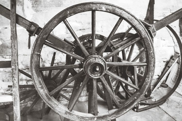 Close-up of old wheel against wall