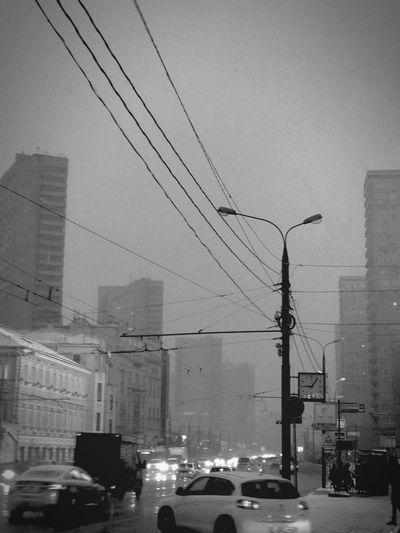 Early Morning Rain Winter in Blackandwhite