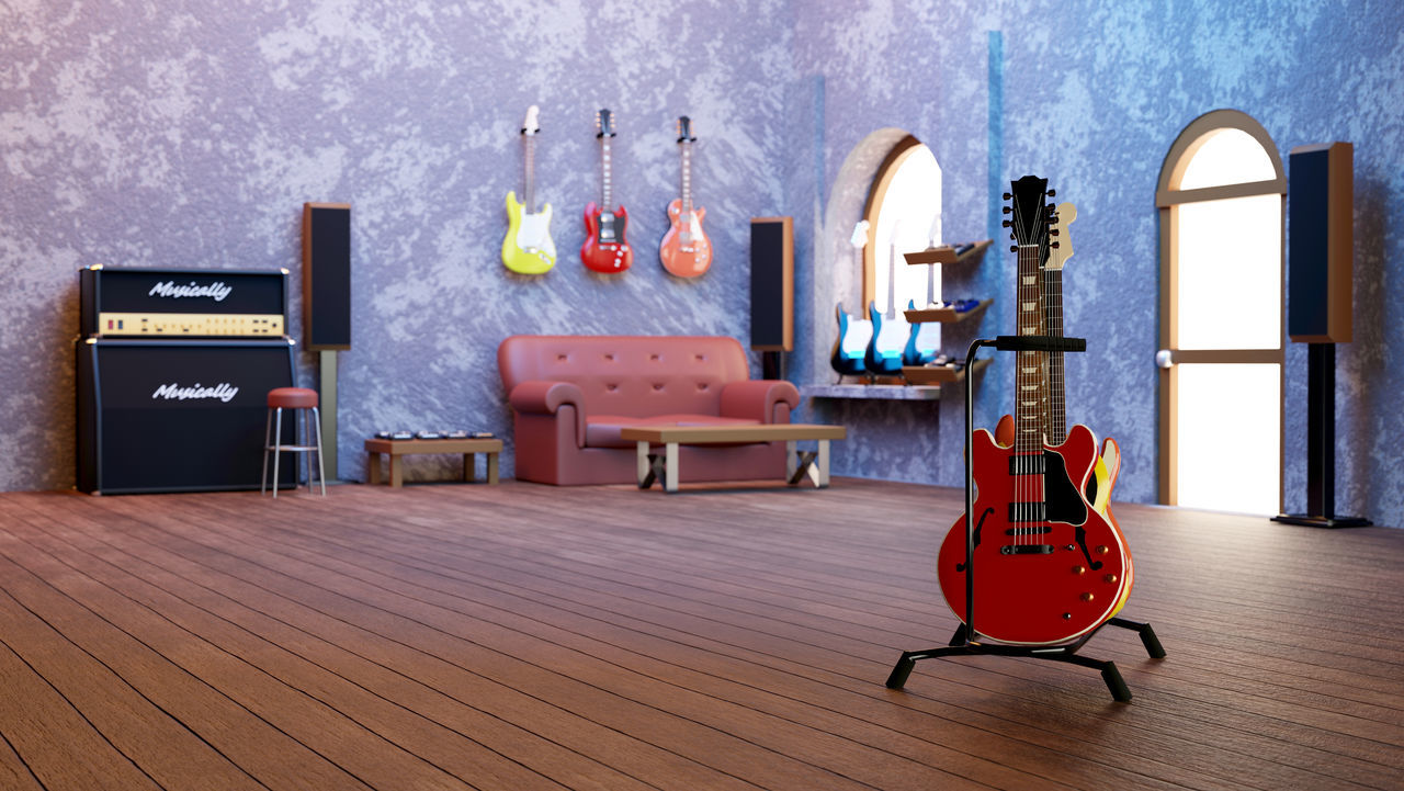 VIEW OF GUITAR IN ROOM