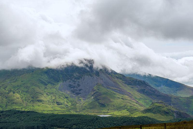 View at yr wyddfa - snowdon. highest mountain range in wales. snowdonia national park. uk.