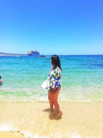 Water Clear Sky Sea Full Length Beach Women Sand Young Women Beautiful Woman Rear View