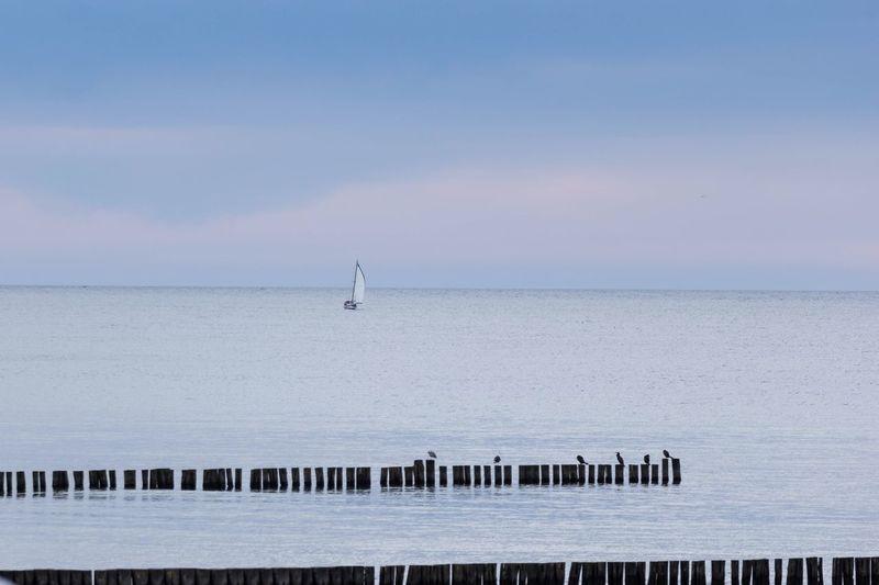 Boot Wasser Ostsee Boat Water Sky Sea Horizon Scenics - Nature Beauty In Nature Horizon Over Water Nature EyeEmNewHere