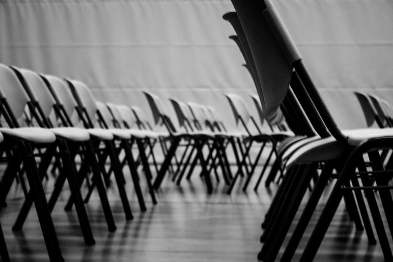 Empty chairs at seminar hall