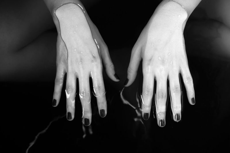 Monochrome Blackandwhite Woman Hand Water_collection