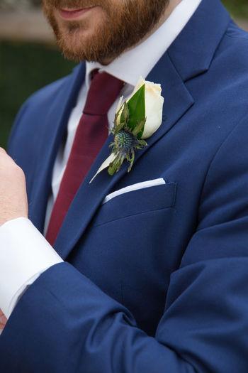Wedding Married Bridegroom Men Celebration Life Events Wedding Ceremony Newlywed Cufflinks Closeup Detial Boutineers Flower Blue Tux Tuxedo Suit Blue Suit Burgundy Tie Burgundy