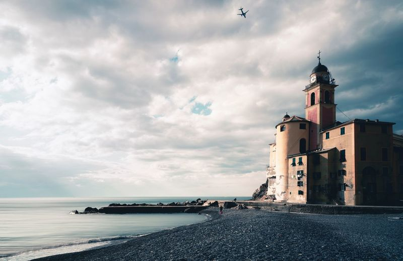 Camogli Building Exterior Cloud - Sky Sky Built Structure Architecture Building Water Beach No People Transportation Travel Destinations Lighthouse Land Tower The Past Nature Outdoors Sea Travel