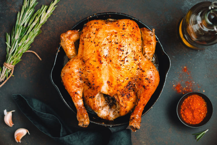 Food And Drink Food Meat Chicken Meat Chicken Directly Above Indoors  Roasted White Meat Roast Chicken No People Still Life Freshness High Angle View Ready-to-eat Household Equipment Table Dinner Meal Close-up Tray Marinated Crockery