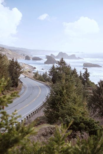 Oregon coastal drives Road Road Trip Hwy 101 Pacific Ocean Pacific Northwest  Oregon Nature Adventure Water Sea Tree Beach Sand Sky Horizon Over Water Cloud - Sky Surf Wave Coast Tide Seascape Seashore Crashing Rocky Coastline Countryside Physical Geography Rock Formation Rushing