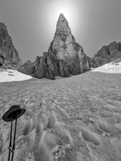 Scenic light behind a summit in the dolomites, south tyrol, italy