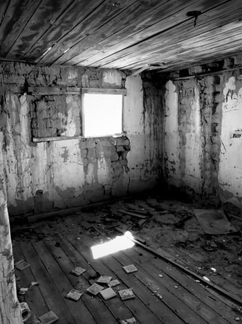 """""""Once Upon A Time In Cedarvale No. 4"""" My People Left Me. Window Black And White Photography Black & White Black And White Abandoned & Derelict Abandoned Buildings Abandoned Places Empty Abandoned Dirty Indoors  Damaged Window Destruction Run-down Weathered Architecture"""