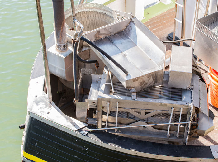 High angle view of nautical vessel moored on sea