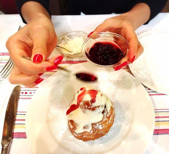 Dessert Papanasi Romanian Food Donut Cherries Sour Cream Hands Red Nails ShareTheMeal Visual Feast