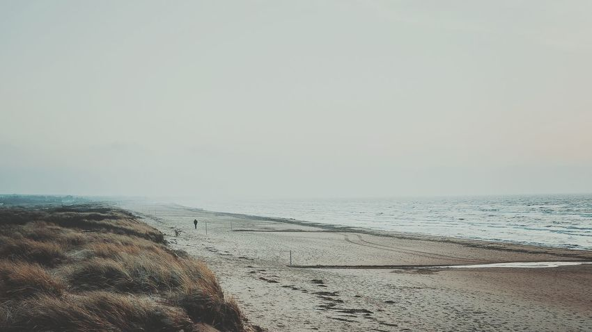 Into The Unknown Unknown Beach Sea Sand Horizon Over Water Water Nature Scenics Sky Beauty In Nature Day Outdoors Woman On Beach Walking Foggy Foggy Landscape Tranquility Tranquil Scene