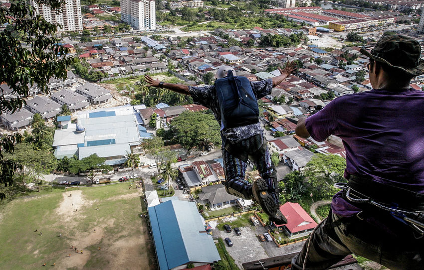 base jump. wira damai extreme park, kuala lumpur Adult Adults Only Architecture Base Basejump Day Extreme Sports Full Length Jumpers  Lifestyles Men Only Men Outdoors People Real People Rear View Two People