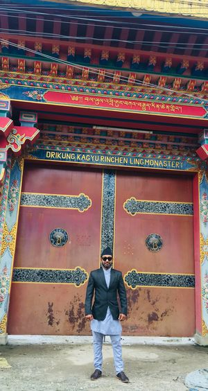 Drikung Kagyu Rinchen Ling Monastery Nepal #travel Monumental Gates Colours And Patterns Buddhist Architecture Shrine Of Nepal Nepal Culture National Dress Code Architecture Built Structure Real People One Person Standing Leisure Activity Full Length