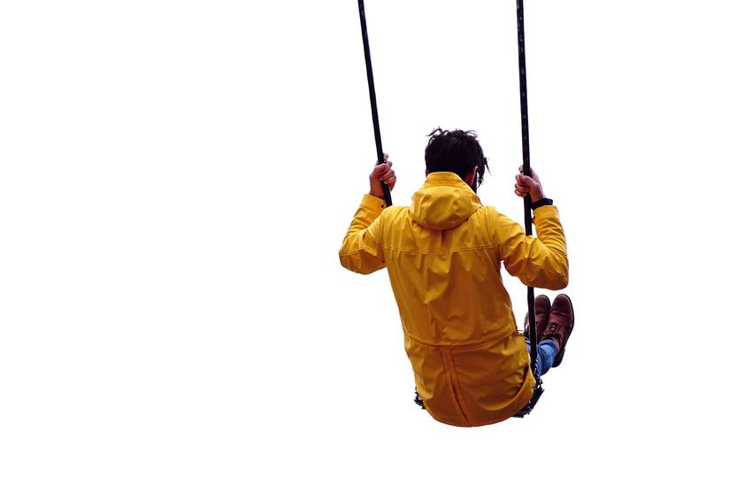 Swing One Person Men Adult One Man Only Yellow Only Men People White Background Healthy Lifestyle Full Length Lifestyles One Young Man Only Adults Only Human Body Part Outdoors Day Sky Young Adult The Week On EyeEm Enjoying Life Real Photography Casual Clothing Playground Fun