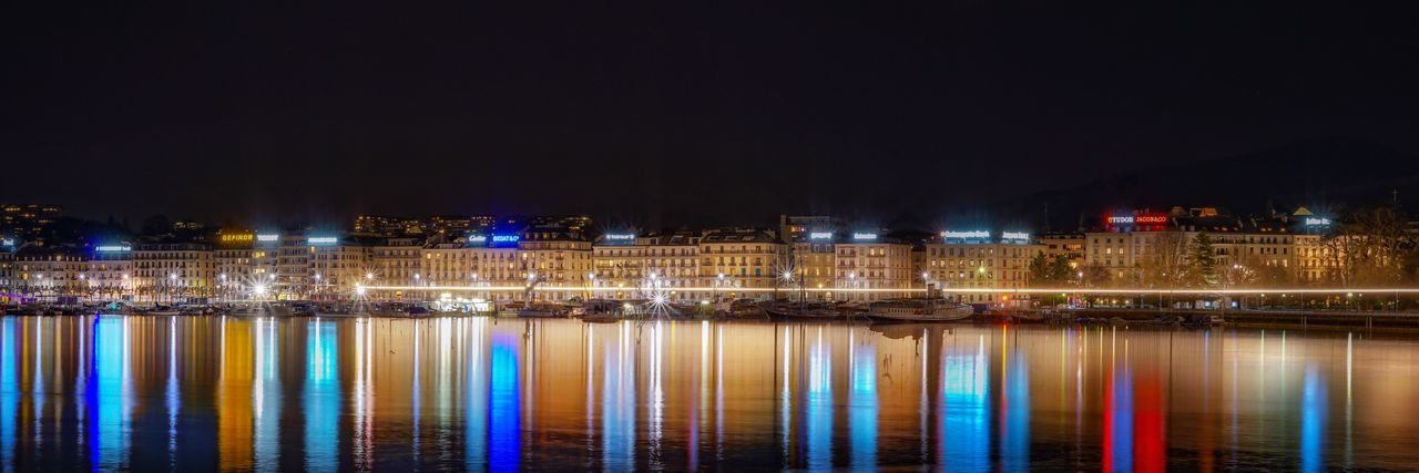 Geneve Lake View Reflections In The Water Reflections Ginebra (Suiza) Night Long Exposure Geneve, Switzerland Geneve Cityscape Building Exterior No People City Multi Colored Illuminated Water City Reflection Architecture Travel Destinations Built Structure City Life