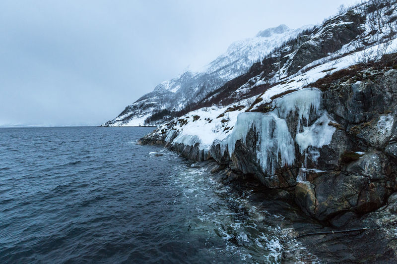 Bad weather in Mefjordbotn on Senja  . Bad Weather Cold Frozen Hazy  Icicles Misty Mountain Mountain Range Northern Norway Ocean Remote Rocks Sea Seascape Season  Sleet Snow Snowcapped Mountain Water Waterfront Weather Winter The Great Outdoors - 2016 EyeEm Awards