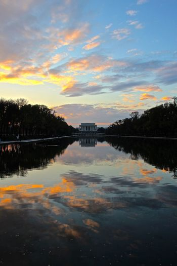 Architecture Beauty In Nature Day Lake Lincoln Memorial Lincoln Memorial Reflecting Pool Nature No People Outdoors Reflection Sky Sunset Symmetry Tranquility Tree Washington, D. C. Water