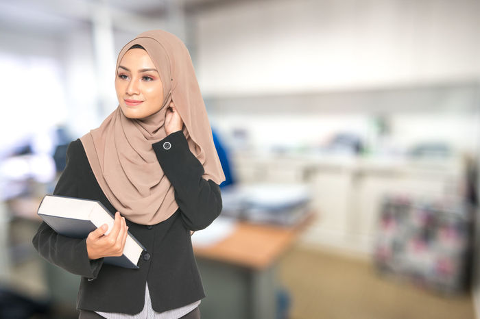 Asian  Modern Muslimah Student Work Businesswoman Carrier Focus On Foreground Islam Job Malaysia One Person Real People Standing Teacher Women Young Adult
