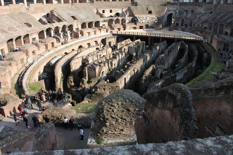High angle view of historic colosseum