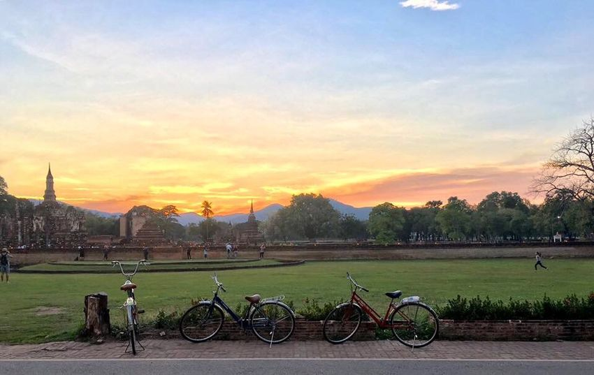 Good Morning Hello World Jogging Cycling Miss My Past Outdoors Old City Naturelovers Nature_collection Tranquil Scene Travel Sukothai Thailand Adapted To The City
