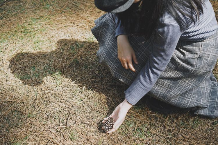 Light And Shadow Shadow Pinecone Picking One Person Real People Lifestyles High Angle View Casual Clothing Human Body Part Leisure Activity Sunlight Outdoors