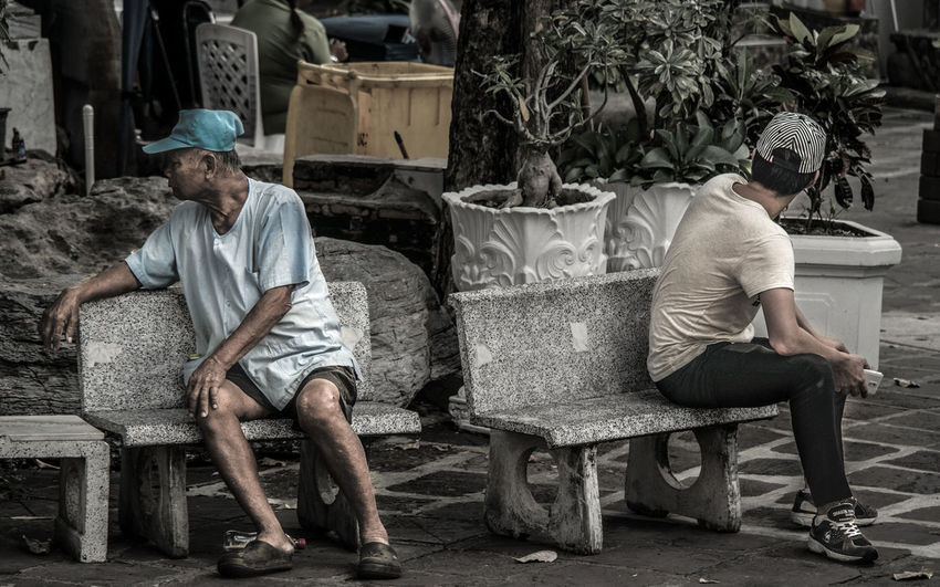 Absence Back Bangkok Chair Grandpa Grandson Old Old And Young P Sitting Sou South East Asia Thailand Togetherness World Travel World Traveller