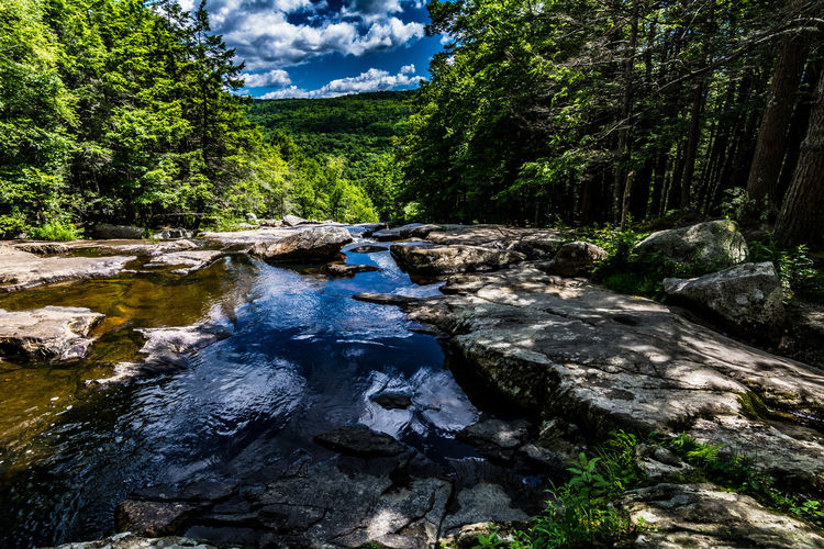 Beauty In Nature Blue Cloud - Sky Day Flowing Water Forest Glendale Falls Green Color Landscape Middlefield, MA Nature No People Non-urban Scene Outdoors River Rock - Object Scenics Sky Stream - Flowing Water Tranquil Scene Tranquility Travel Destinations Tree Water Waterfall