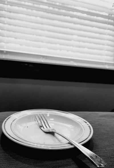 Fork Plate Table Indoors  Silverware  No People Place Setting Day Food Close-up Finished Finished Eating Dirty Dishes Empty Ate It All All Gone  I'm Full Empty Plate Blinds Window Black And White