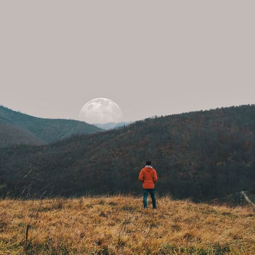 Wander Beauty In Nature Moonlight VSCO My Mind Wanders Mountain View Mountain Nature Naturelovers Nature Photography People Rear View Sky Land Beauty In Nature Moon Full Length Environment Mountain Nature Scenics - Nature People Landscape Tranquility Standing Men Tranquil Scene Field Plant Leisure Activity Full Moon My Best Photo The Traveler - 2019 EyeEm Awards