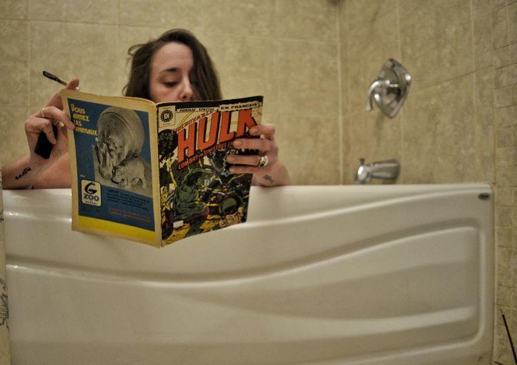 Portrait Holding Bubble Bath Taking A Bath Reading Bathtub Hot Tub Bathing Book