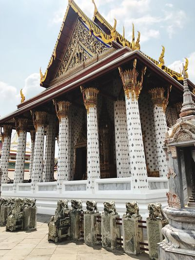 Temple in Bangkok EyeEm Selects Built Structure Architecture Sky Building Exterior Building Belief Religion Place Of Worship Day No People Spirituality Travel Destinations Tourism History Architectural Column Art And Craft