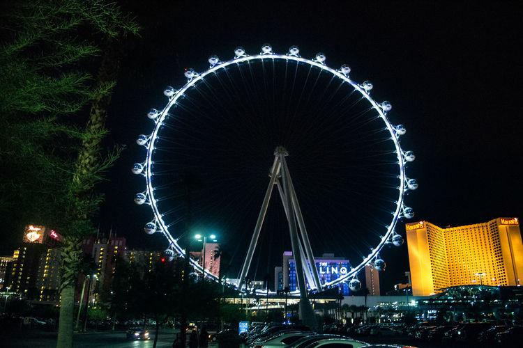 "The ""High Roller"" Ferris wheel in Las Vegas Amusement Park Ride Architecture Arts Culture And Entertainment Engineering Famous Place Ferris Wheel High Roller Las Vegas Nevada"