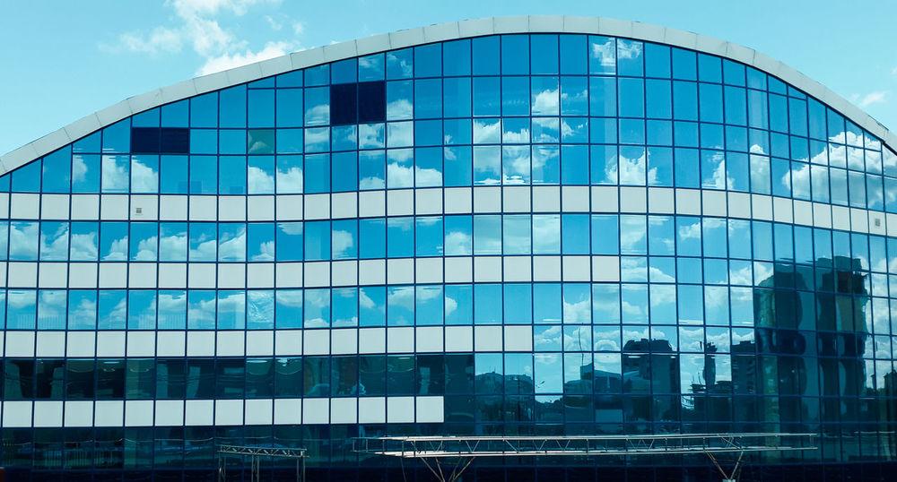 Mirror Sky Building Blue Uralsk Kazakhstan🇰🇿