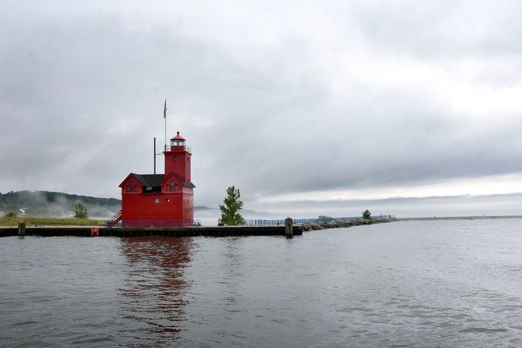 Cloudy Day Holland Harbor Light Holland State Park Lake Michigan Lighthouse Architecture Big Red Lighthouse Building Building Exterior Built Structure Cloud - Sky Clouds Guidance Lighthouse Lighthouses Of Lake Michigan No People Outdoors Protection Red Sky Tower Water