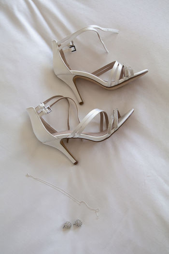 High angle view of shoes on white table